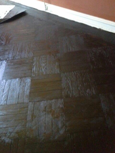 Minwax Espresso Stain On Parquet Floor Parquet Flooring