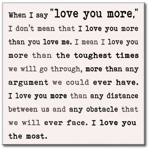 Wall Sign When I Say Love You More Teksten