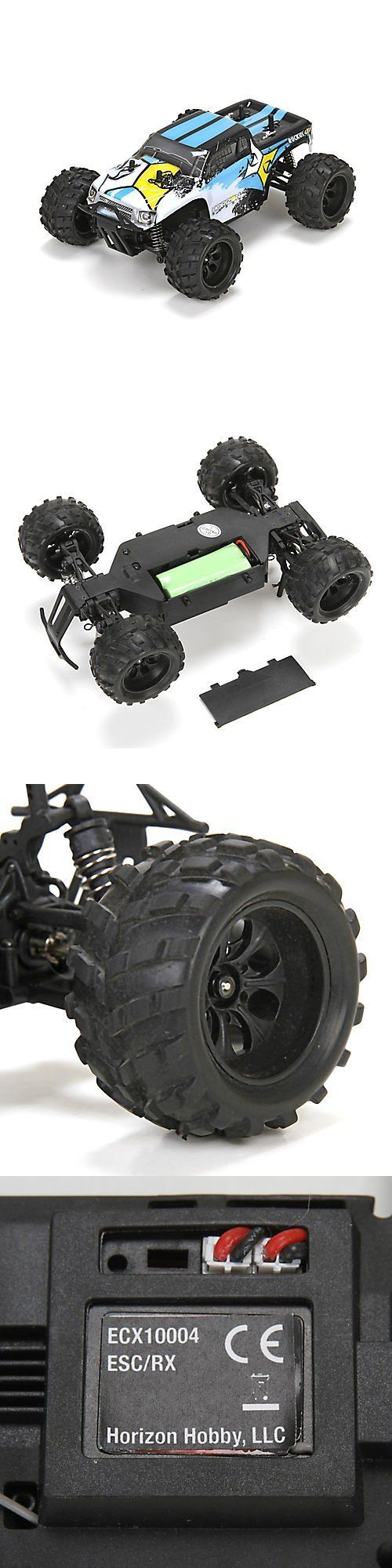 Tether cars 168247 ecx ruckus 1 24 4wd monster truck black white rtr