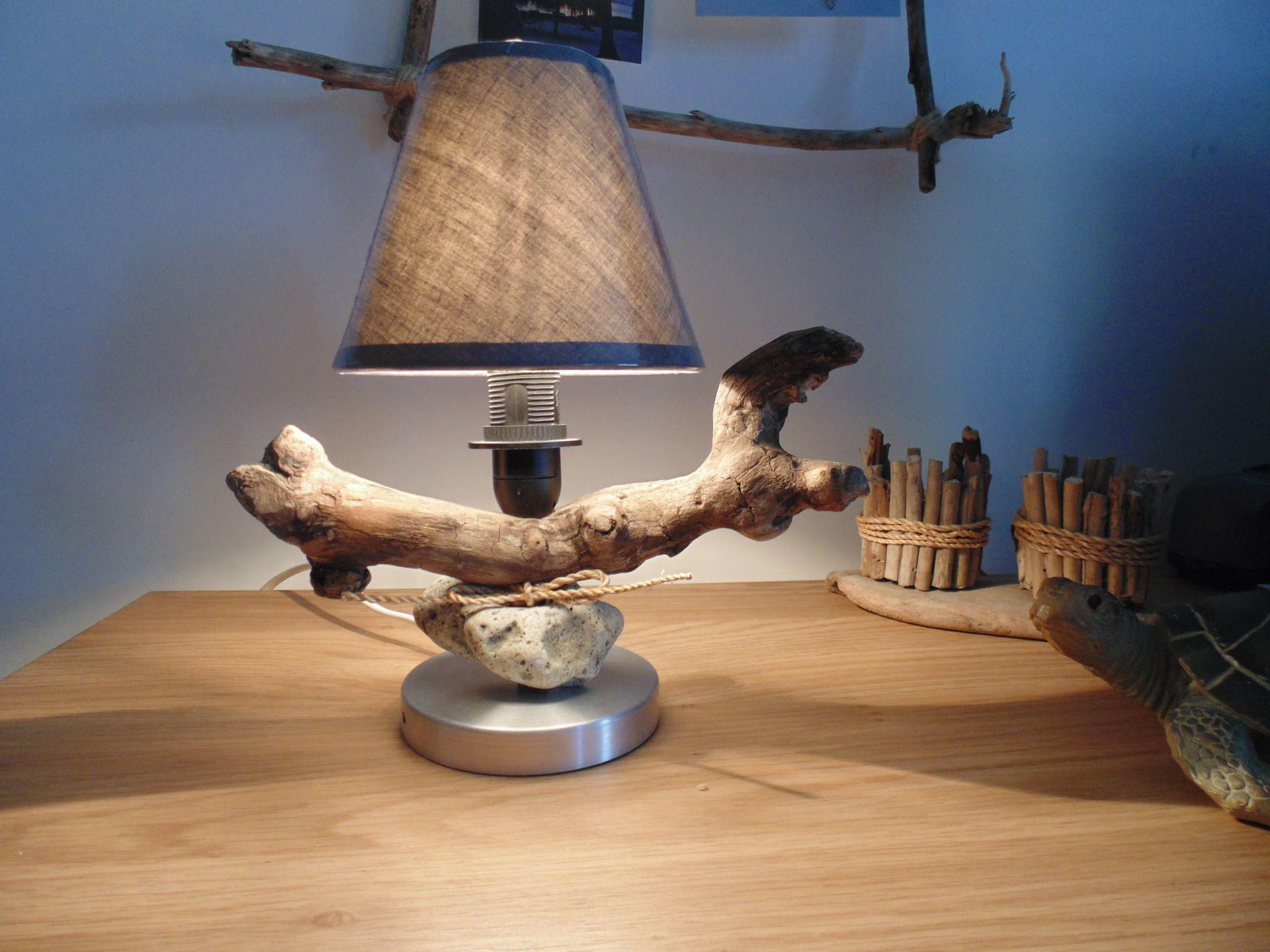 Petite Lampe En Bois Flotte Et Galet Abat Jour Pince Flamme