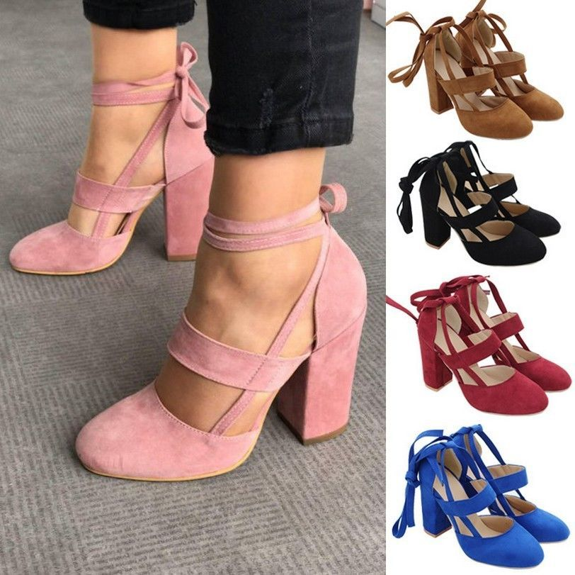 Womens Party Ankle Straps Block High Heel Shoes Closed Toe Pumps Sandals Size