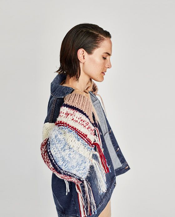 Image 8 Of Denim Jacket With Contrasting Sleeves From Zara