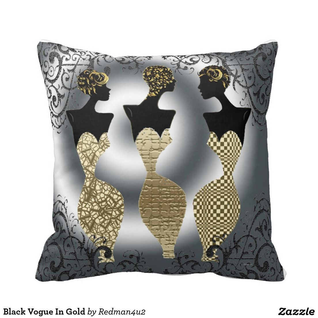 Black Vogue In Gold Throw Pillows