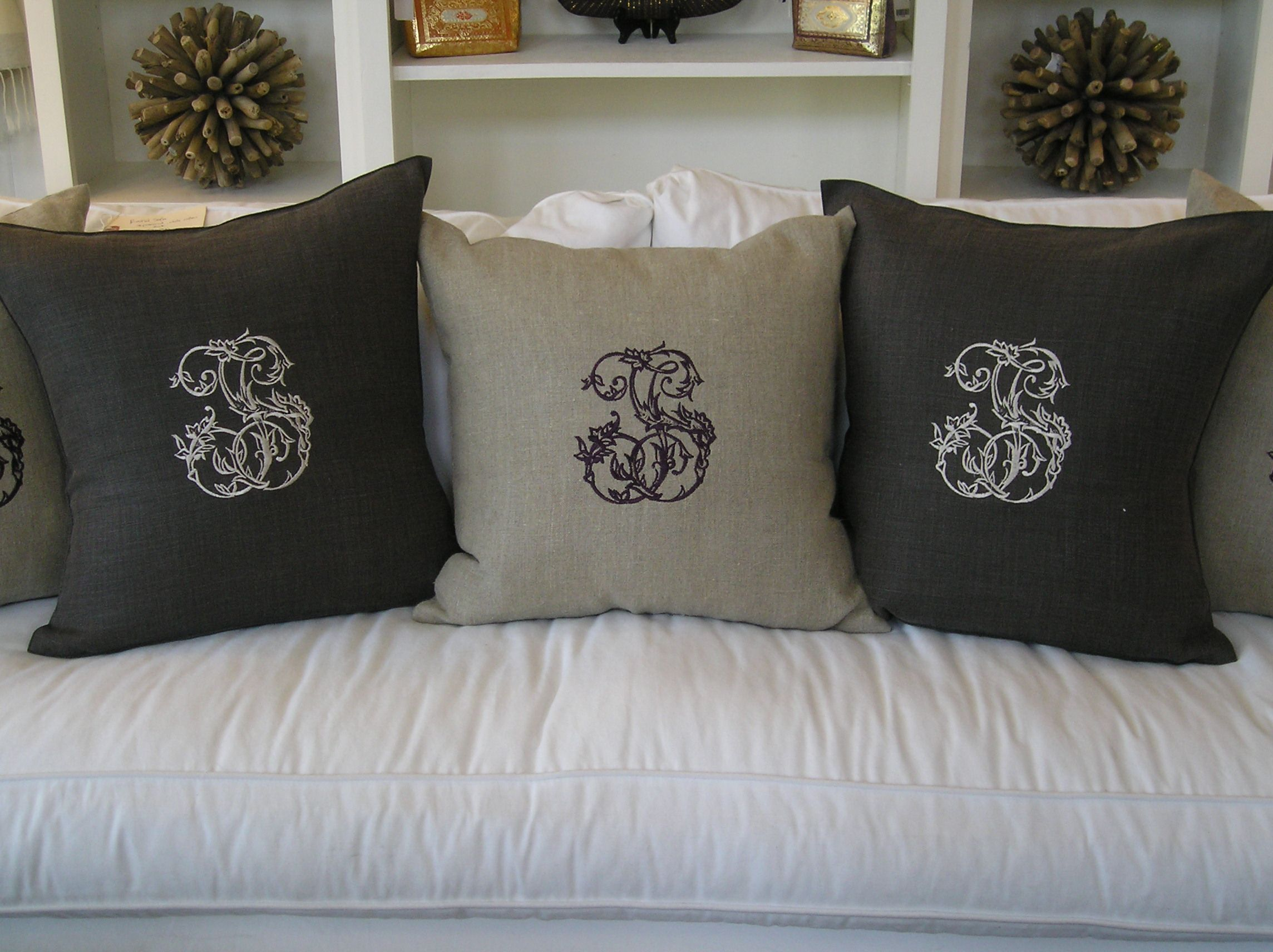 pillow with store piping monogrammed