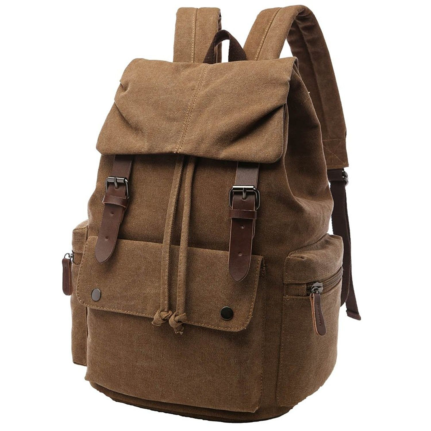 d1c6a5e7c9 Vintage Canvas Backpack for School Casual Rucksack Travel Bag for ...