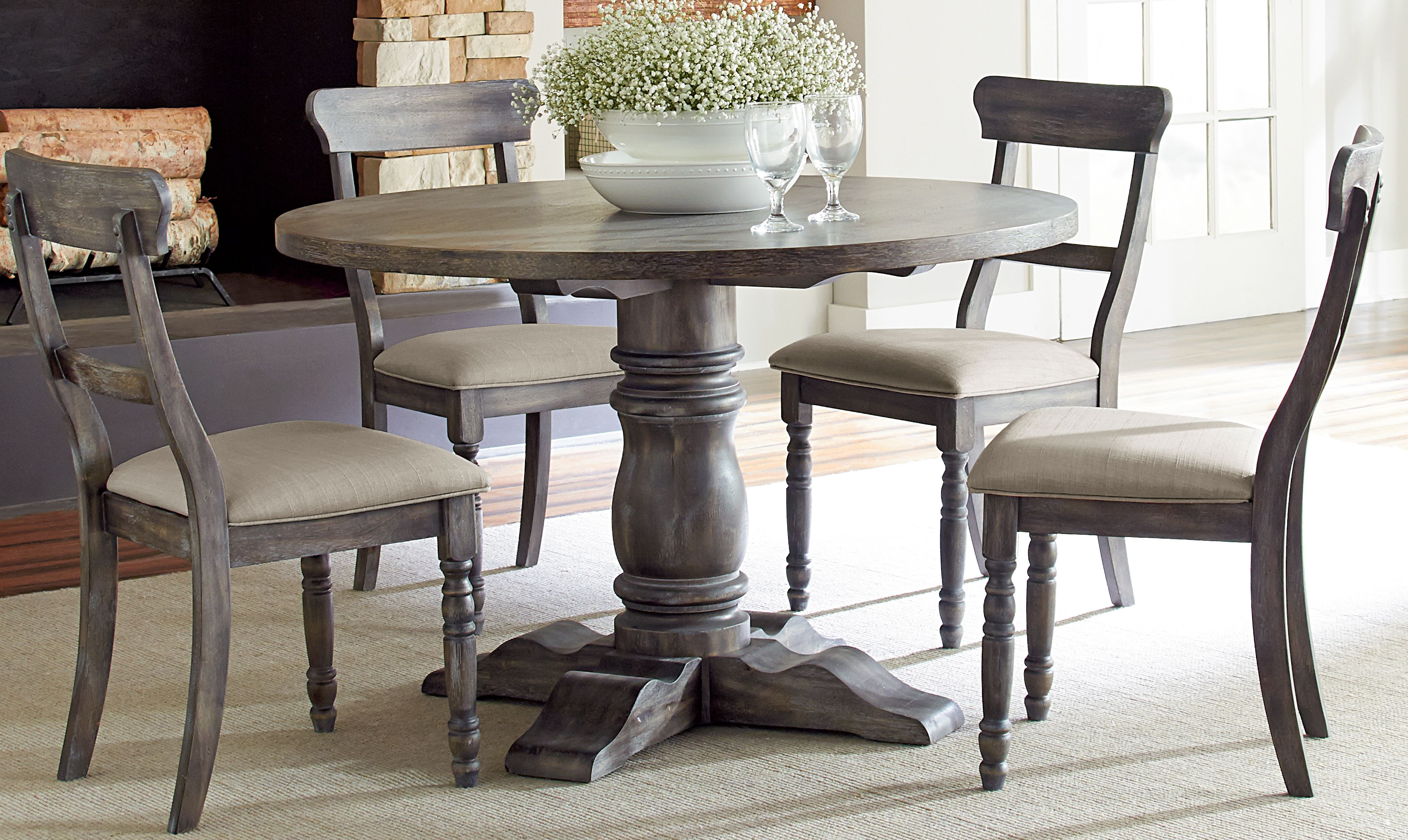 Round Dining Table And Chairs Modern Rustic Brushed Gray Finish Dining Table Sales Furniture Jeudzik Round Dining Room Sets Round Dining Table Sets Grey Round Dining Table