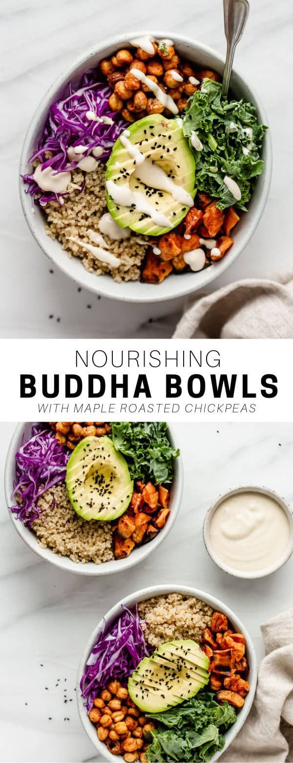 These nourishing vegan buddha bowls are loaded with chickpeas, quinoa and veggies for a healthy and easy recipe you'll love! nourishing vegan buddha bowls are loaded with chickpeas, quinoa and veggies for a healthy and easy recipe you'll love!