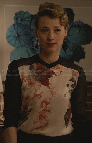 Margaux's black top with floral front panel on Revenge.  Outfit Details: http://wornontv.net/30258/ #Revenge