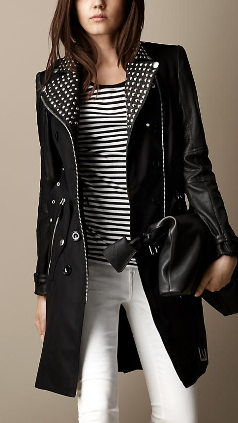 d3afab1604 Long Leather Detail Biker Trench Coat