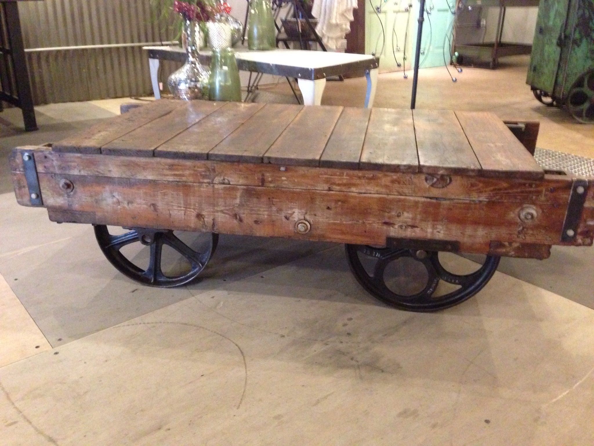 Industrial Factory Cart Coffee Table Industrial Factory Cart Coffee Table Built Using 2 Different