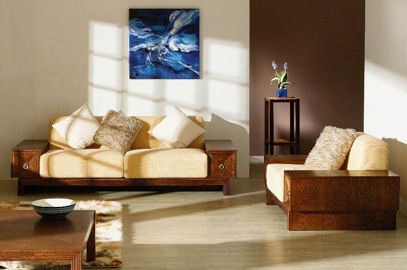 Small Living Room With Simple Solid Wood Sofa Sets