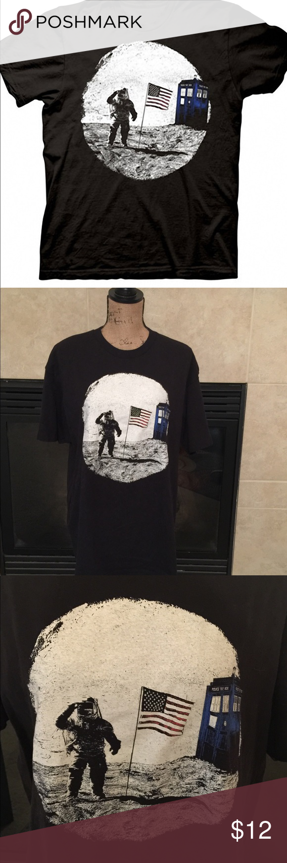 Doctor Who Tardis Moon Landing 100% cotton, preshrunk, black, shirt sleeve Doctor Who Tee. Purchased at Comic Con and worn only once or twice. A must for any fan of the Doctor. Size XL Tops Tees - Short Sleeve