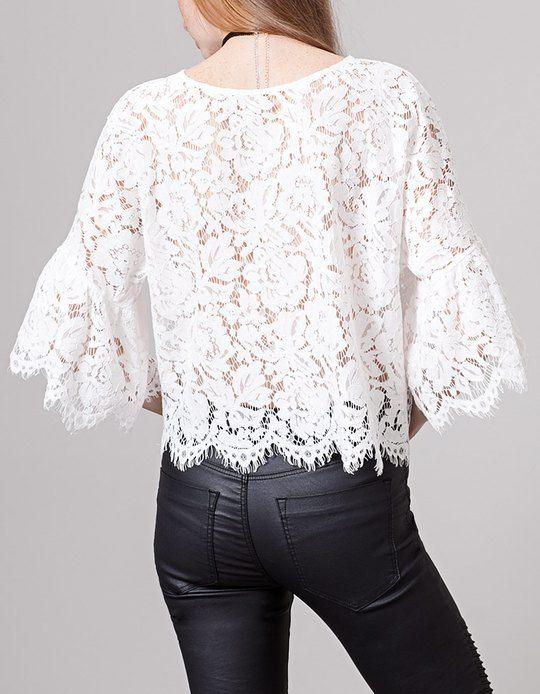 Blanco Camisa de encaje Imagen 1 … | Camisas de encaje