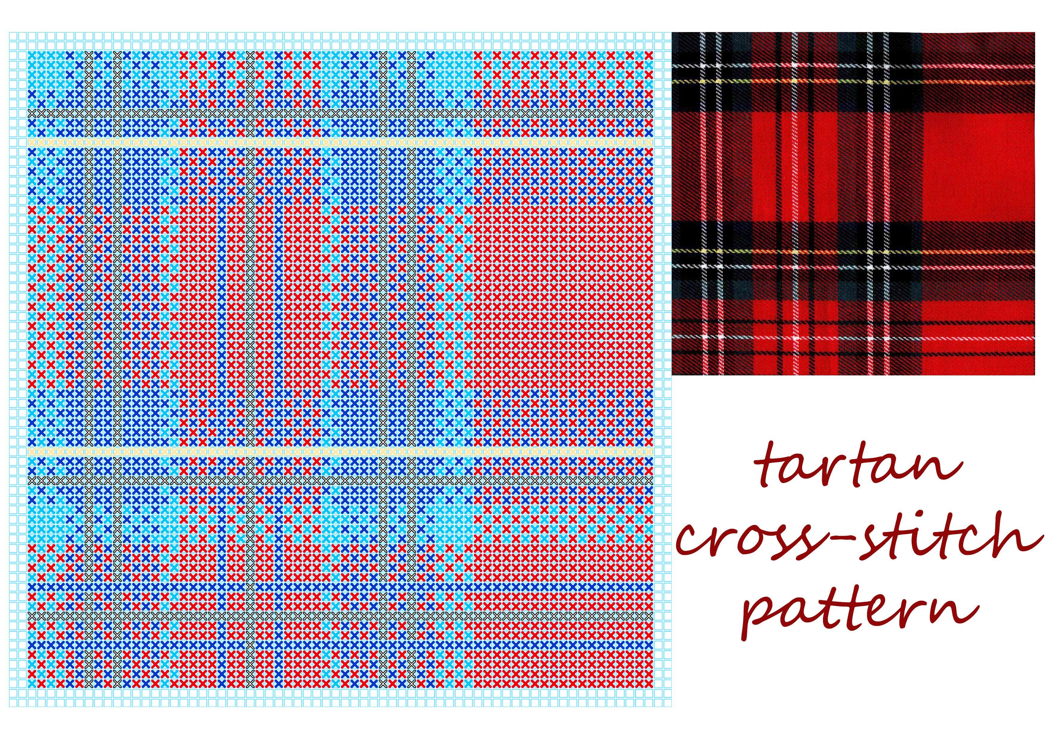 Free Tartan Plaid Cross Stitch Pattern Stitching Pinterest