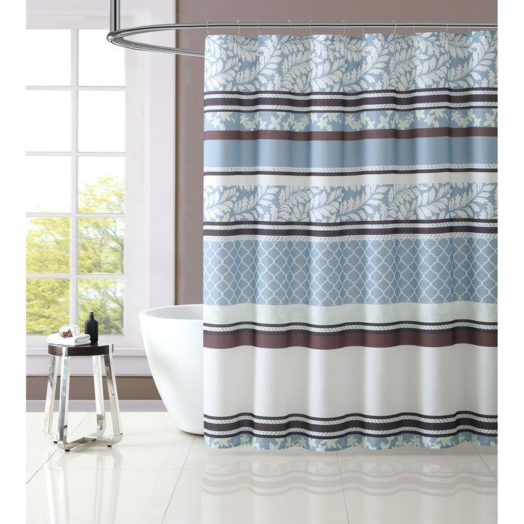 Brown Blue Verbena Shower Curtain Set For The Home Pinterest