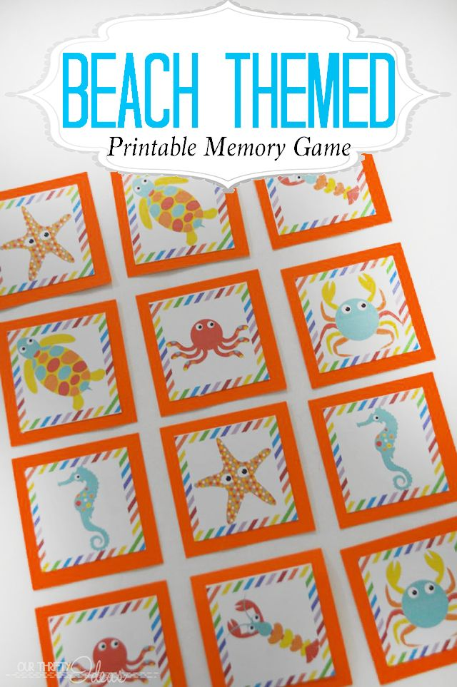 image relating to Printable Memory Games for Adults referred to as Seashore Themed Printable Memory Match Bloggers Enjoyment Household