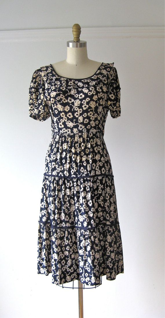 vintage 1940s novelty print dress / 40s dress / Circulation Desk