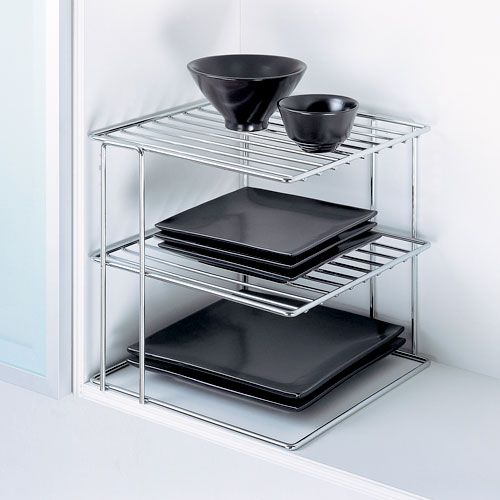 Kitchen Metal Wire Chrome Corner Shelf. for the pantry?