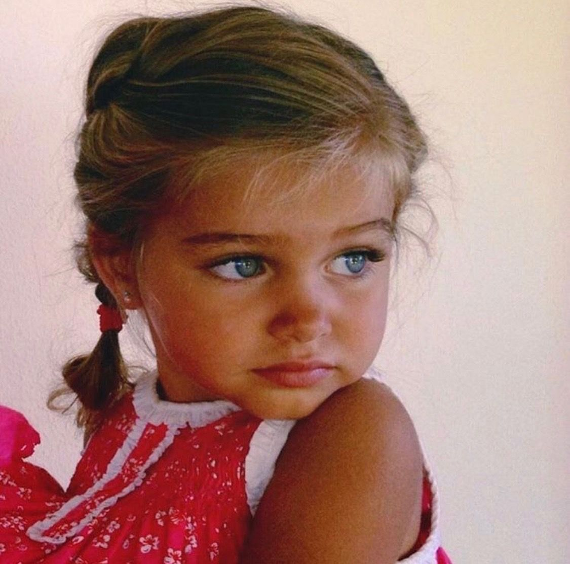 Cute Kids Beautiful Blue Eyes Braids Sun Tan Baby Girl Blue Eyes