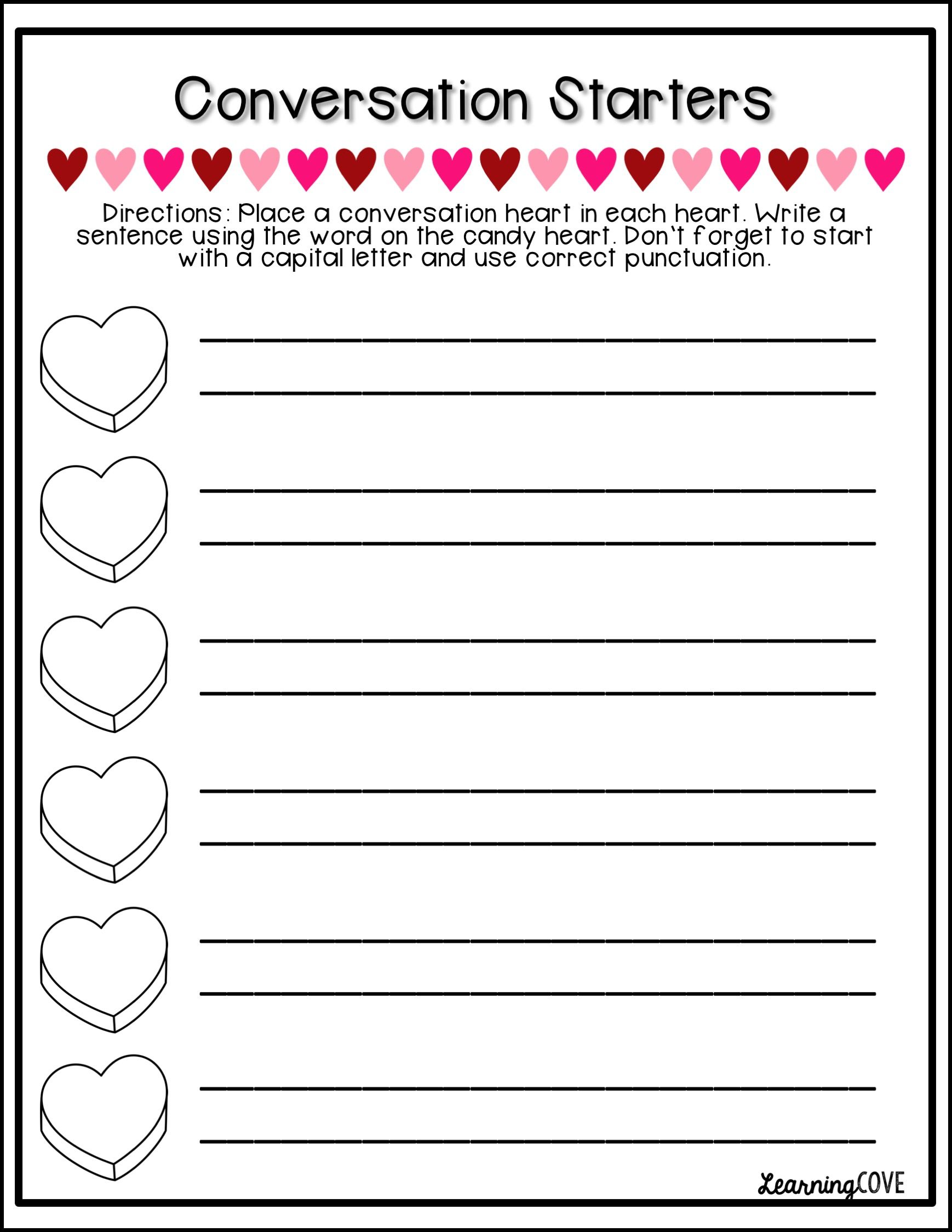 Conversation Hearts Valentine S Day And Kindness Activity Packet And Centers