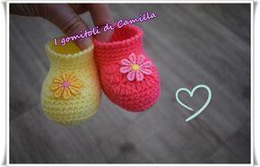 abe3aa1da6d124 Realizziamo insieme queste scarpine da neonato a uncinetto semplicissime e  carinissime! Cliccate sulla foto per le spiegazioni passo passo.