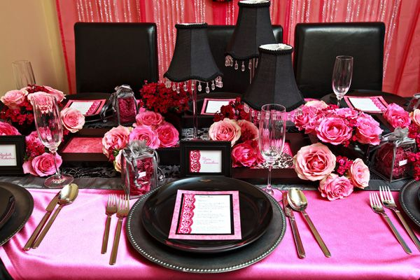 Silver Plate Black Pink Flowers DecorationsWedding
