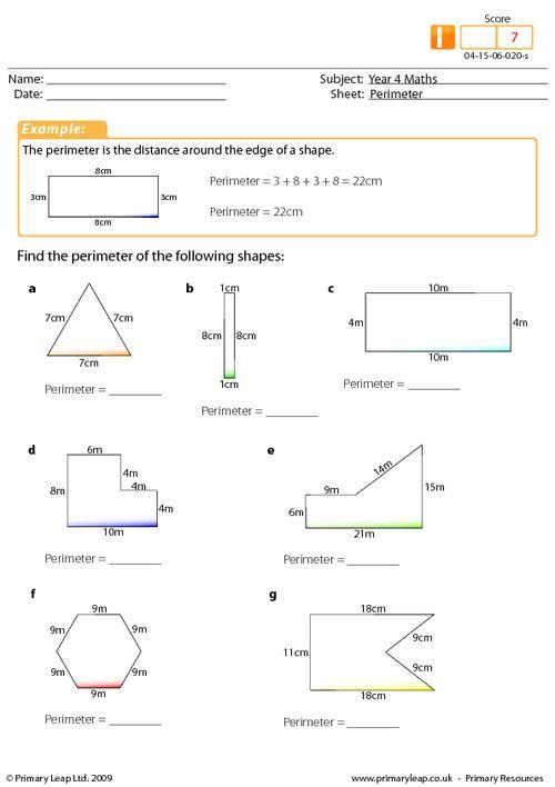 Year  Maths Perimeter Worksheet Intermediate  Th Math