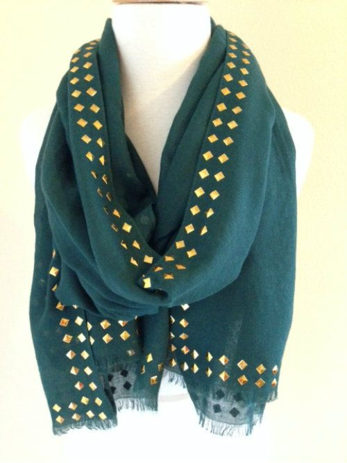 Studded Scarf in Green | Wrap Your Neck With Style ...