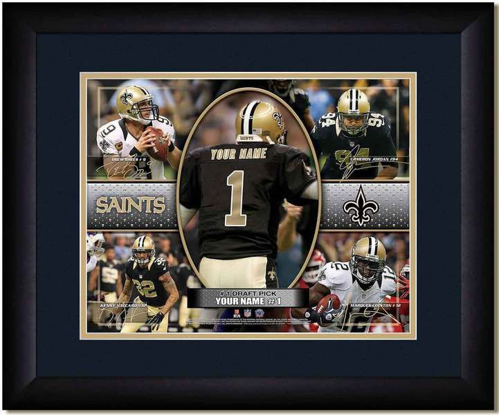 Your Name on a Saints jersey as the #1 Draft Pick, with other football star players of your favorite NFL team, Framed Poster