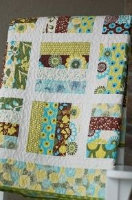 Jelly roll quilt.. The multiple prints and colors go great together. Great example of using a jelly roll.