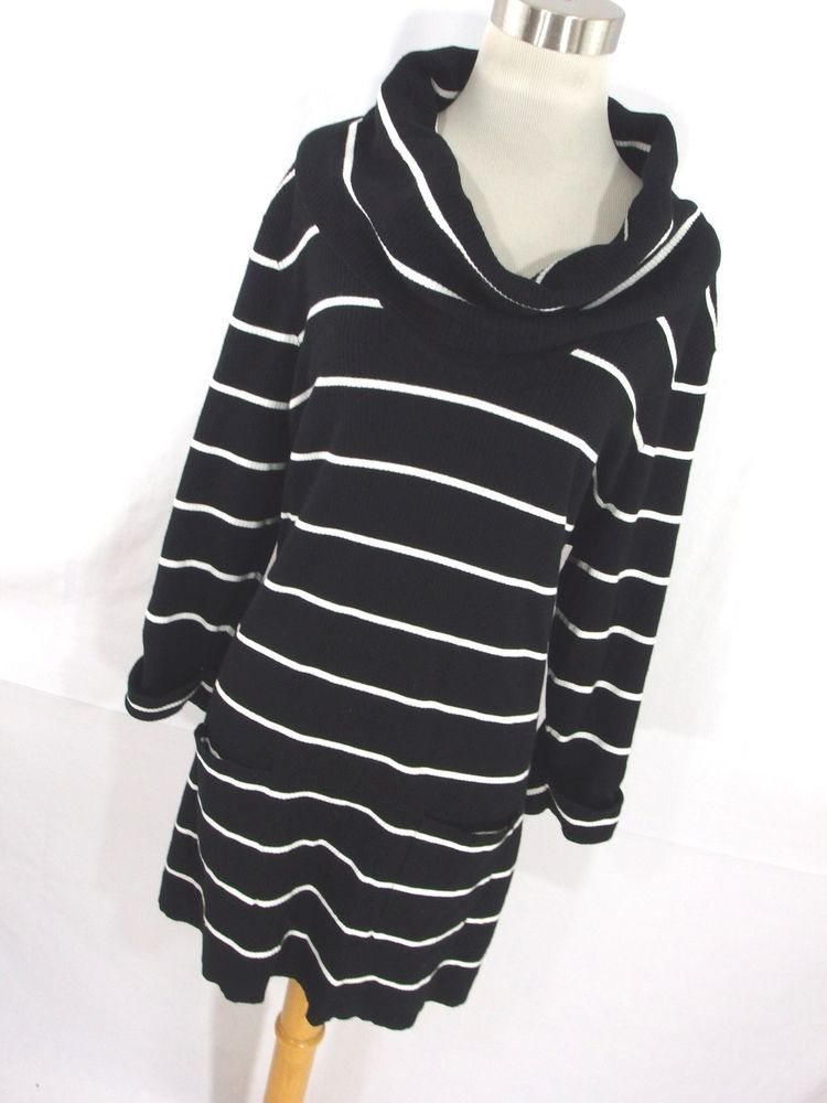 Inc Womens Sweater 1X Tunic Sweater Long Cowl Neck Black White ...