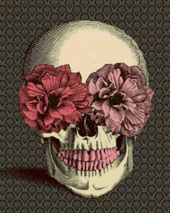 Flower eyes art illustration pinterest illustrators macabre skull with pink flower eyes and pink teeth mightylinksfo