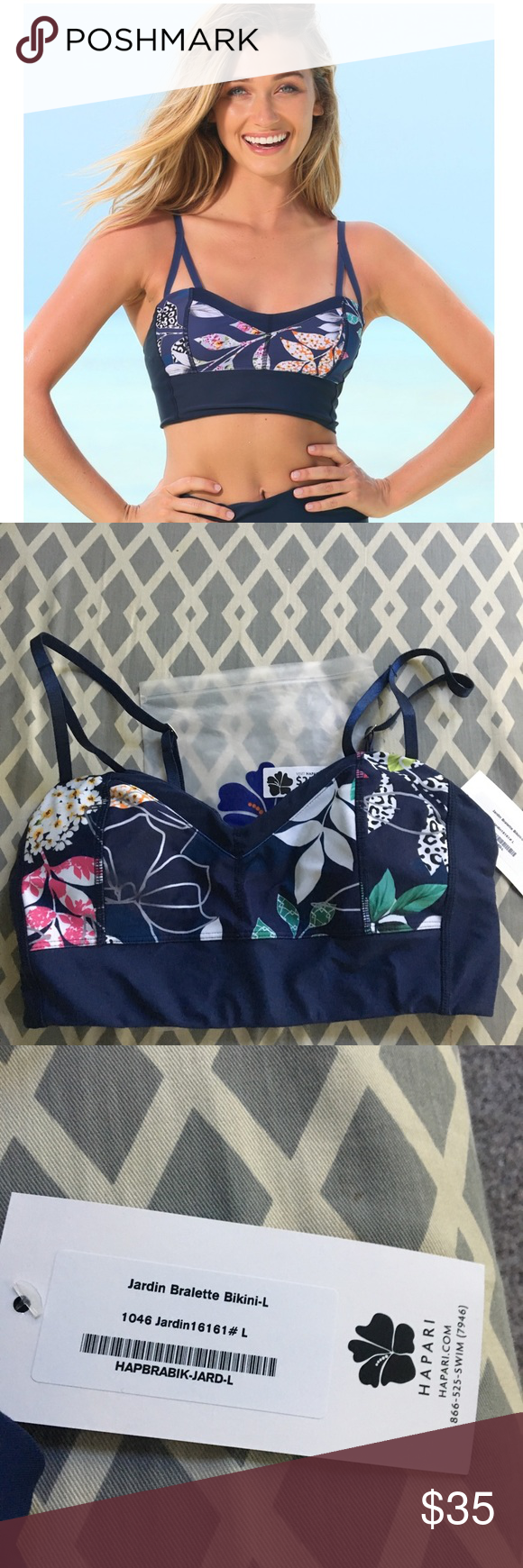 a8315d4edeb Hapari Bralette Midkini bikini top L NWT Large hapari Swim Bikinis