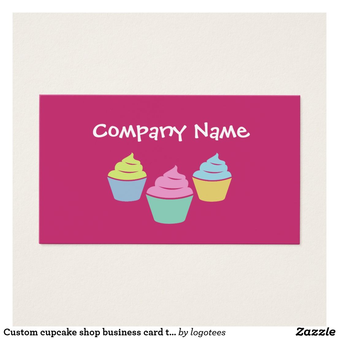 Custom cupcake shop business card template. Cute colorful cup cake ...