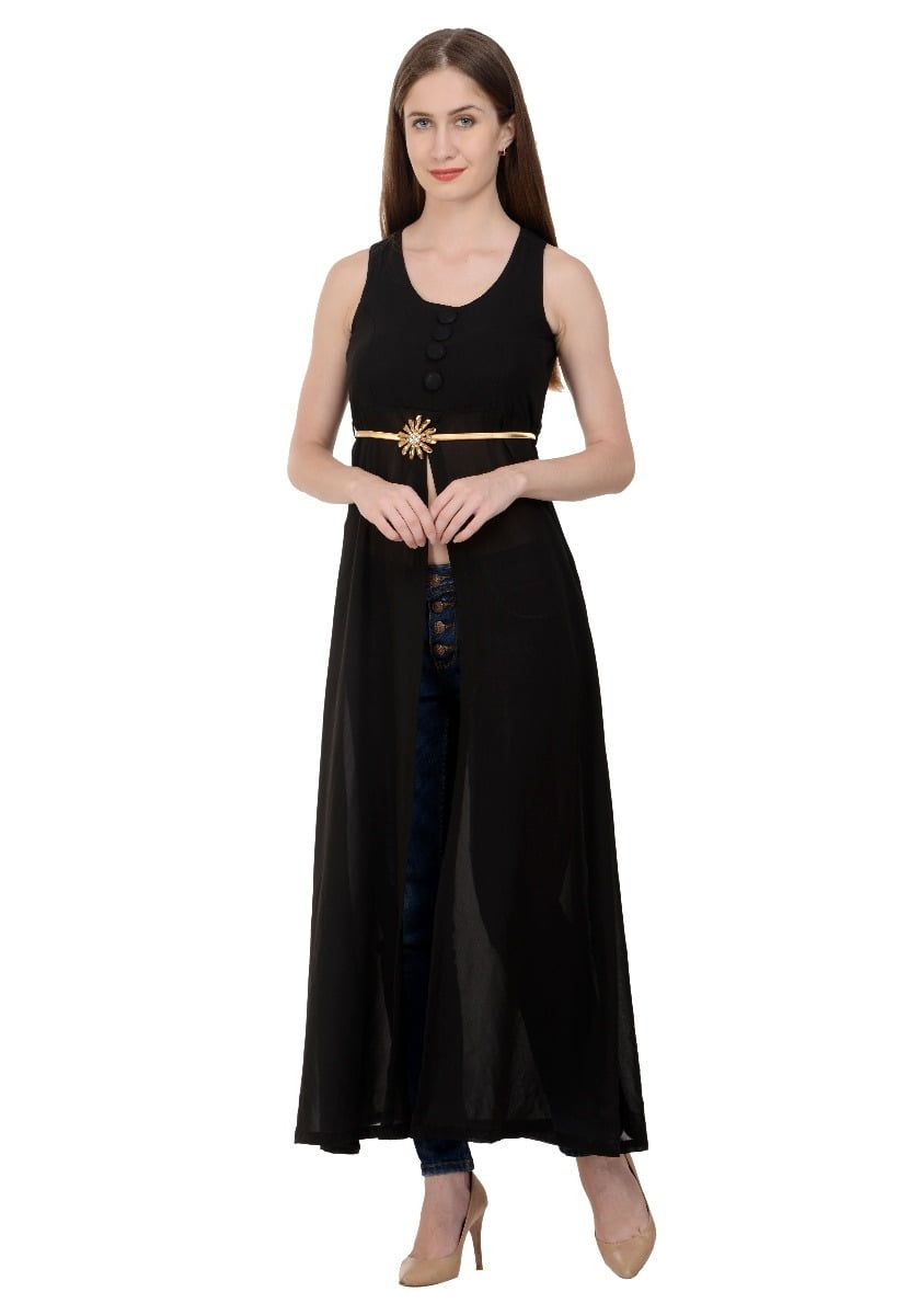 Raabta black cape long dress with gold broch belt with padded fulpy