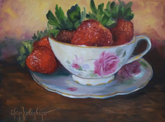 Who doesn't like strawberries?  Especially red ones stacked up on a teacup and saucer.  This little painting makes a very inviting wall art piece to welcome people into a kitchen or dining room area.    9x12 Original Oil Painting on Wrap Around Canvas by Cheri Wollenberg  Edges of canvas are painted black so framing is not required.  Hanging hardware is installed on the back of the canvas. | Shop this product here: spreesy.com/Paintingsbycheri/53 | Shop all of our products at…