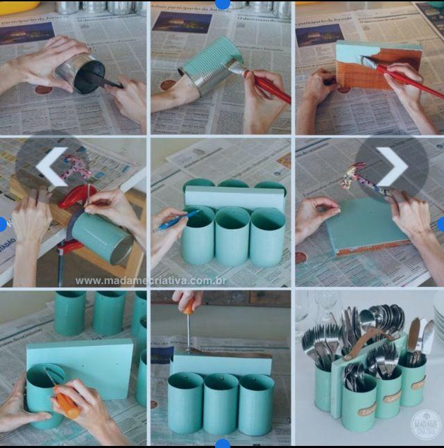 Porta cubiertos con latas