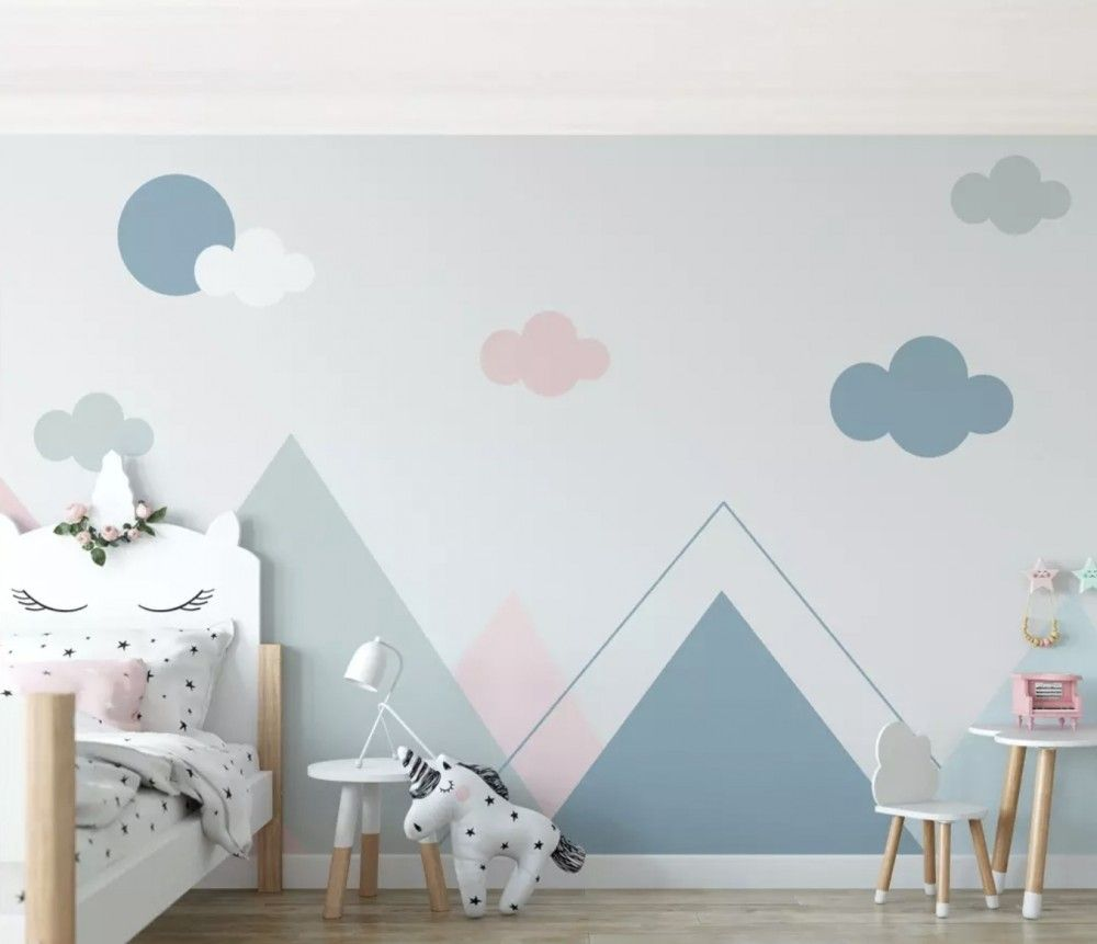Blue Pink Mountains and Clouds Wallpaper Mural in 2020