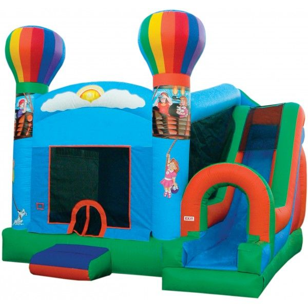 12c3253c7f93 Take your party to the next level with this hot air balloon bounce house  combo inflatable with a slide and basketball hoop!
