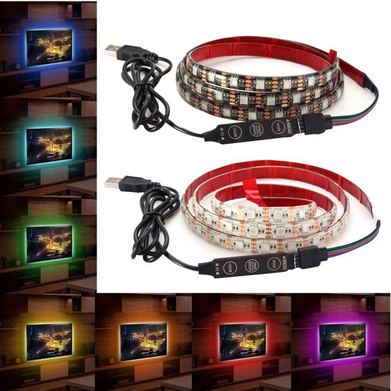 1m waterproof usb smd5050 120 led rgb strip light bar tv background rh pinterest com
