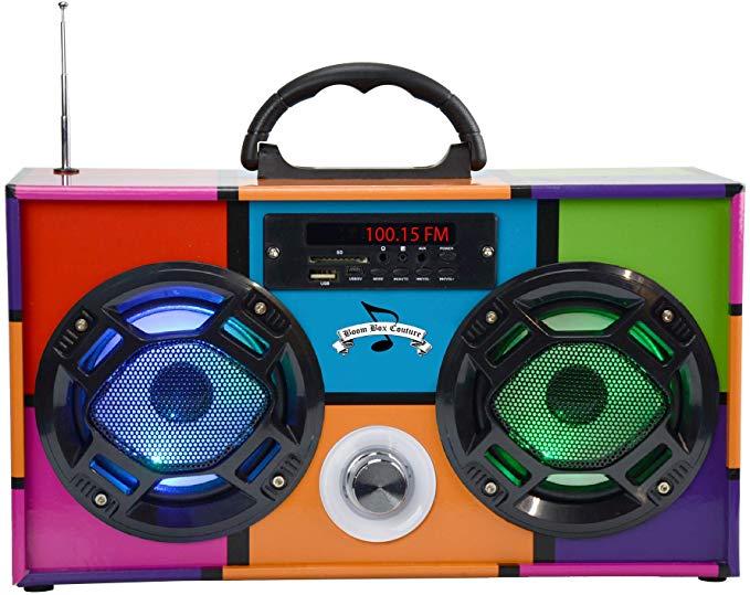 Mini Boombox Con Altavoces Led Retro Multicolor Mp3 Players Accessories Boombox Fm Radio Radio