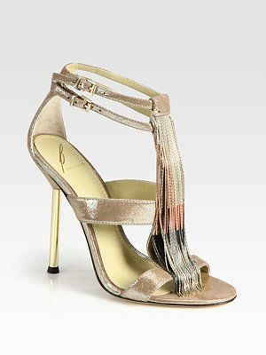 Brian Atwood Metallic Leather Sandals outlet low shipping discount shopping online buy cheap sast mRow9AfKm