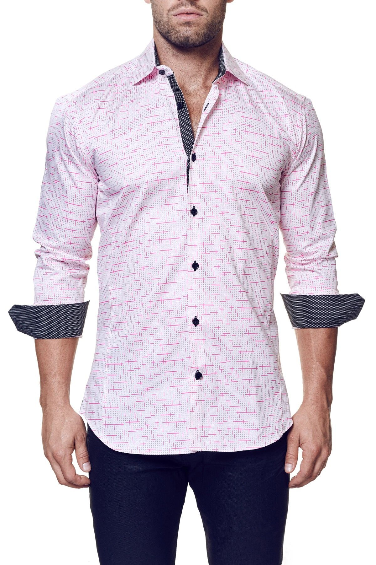 Wall Street Tetris Long Sleeve Trim Fit Shirt (Big & Tall)
