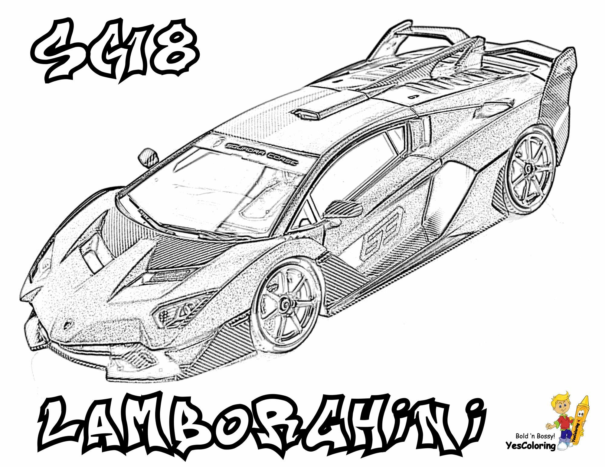 Sports Car Coloring Pages Lamborghini | Convertible Cars