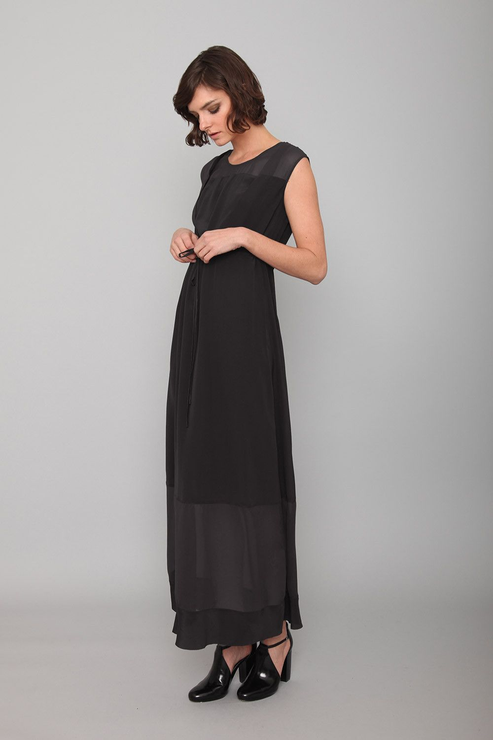 Cupro Sheer Panel Maxi Dress Maxi Dress Dresses Dresses With Sleeves