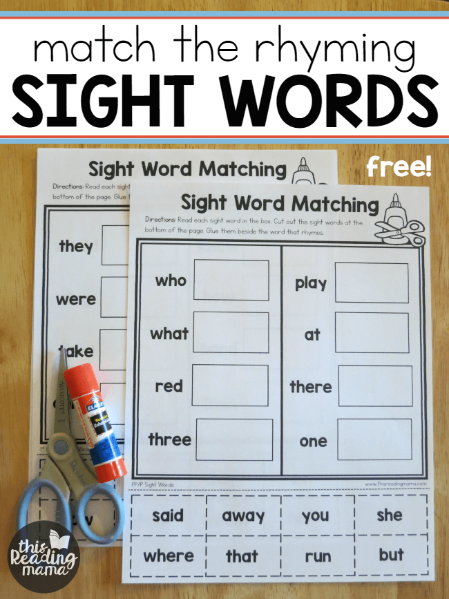 Sight Word Worksheets Match The Rhyming Word Best Of This