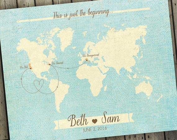 antique world map wedding guest book alternative map custom map gift custom world map old world map
