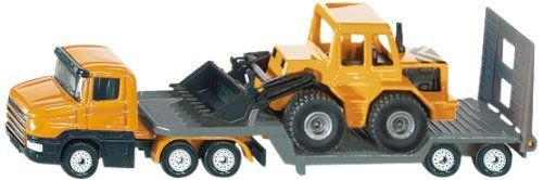 Siku Low Loader With Front Loader by Siku. $16.99. Quality die cast product features a prime mover with articulated low loader trailer and a front loader.. This durable Siku item has moving parts.. Part of the #1 line of die cast vehicles.. The German engineering quality shows in the details and strength of the product.. The wheels are welded to the axles & tires made of rubber for long lasting play!. From the Manufacturer                Low Loader with Front Loader- Quality...