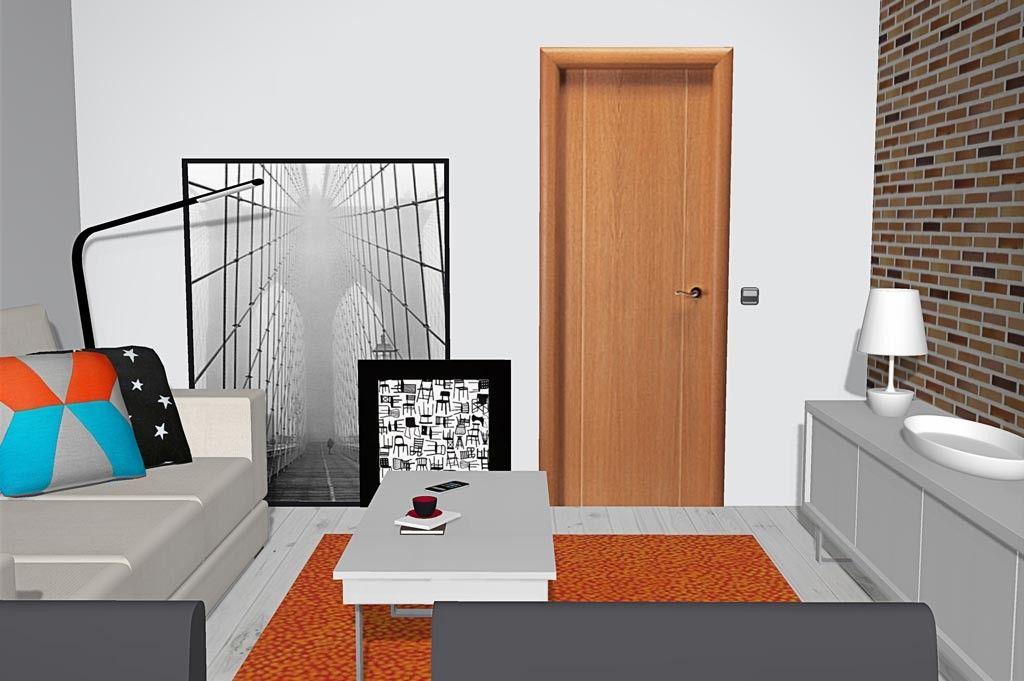 Sal n comedor con pared de ladrillo y muebles color blanco - Color paredes comedor ...
