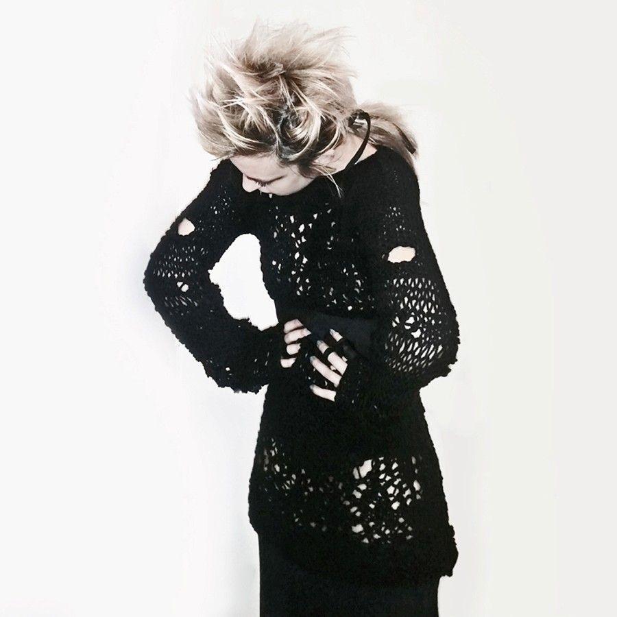 Unisex punk knit lace black long sweater | Knit lace, Long ...